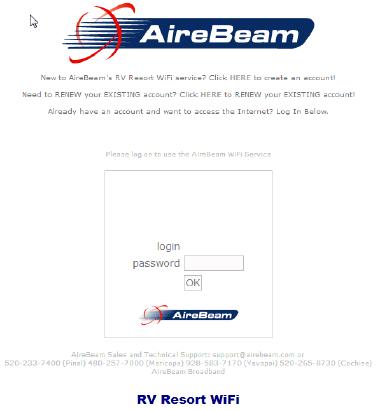 AireBeam WiFi Splash Screen