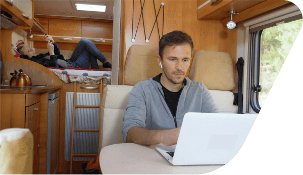 couple online in an RV